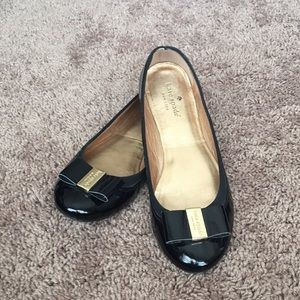 Kate Spade NY Black Patent Leather Tock Ballet